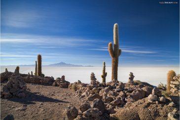 Остров среди просторов солончака Уюни. Боливия