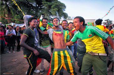 Футбольные фанаты в Аддис-Абебе