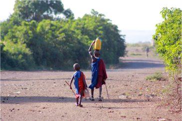 Дети несут воду из реки в деревне Энгарука. Танзания