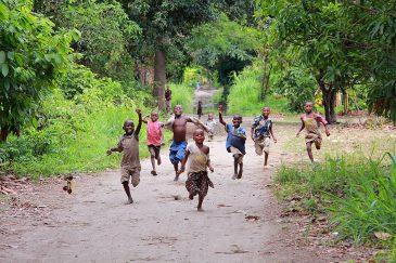 Преследование мзунгу (белых людей) ватагой деревенских детей. Танзания