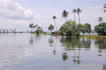 Тихие заводи озера Вембонад в штате Керала. Индия