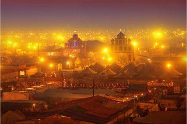 Ночные огни Кумбха Мелы. Окрестности Аллахабада в штате Уттар-Прадеш. Индия