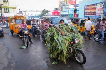 Замаскированный мотоциклист в городке Тирупати. Штат Андхра-Прадеш. Индия