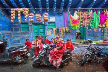 Улицы синего города Джодхпура в Раджастане. Индия