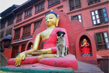 Будда возле ступы Сваямбунатх в Катманду