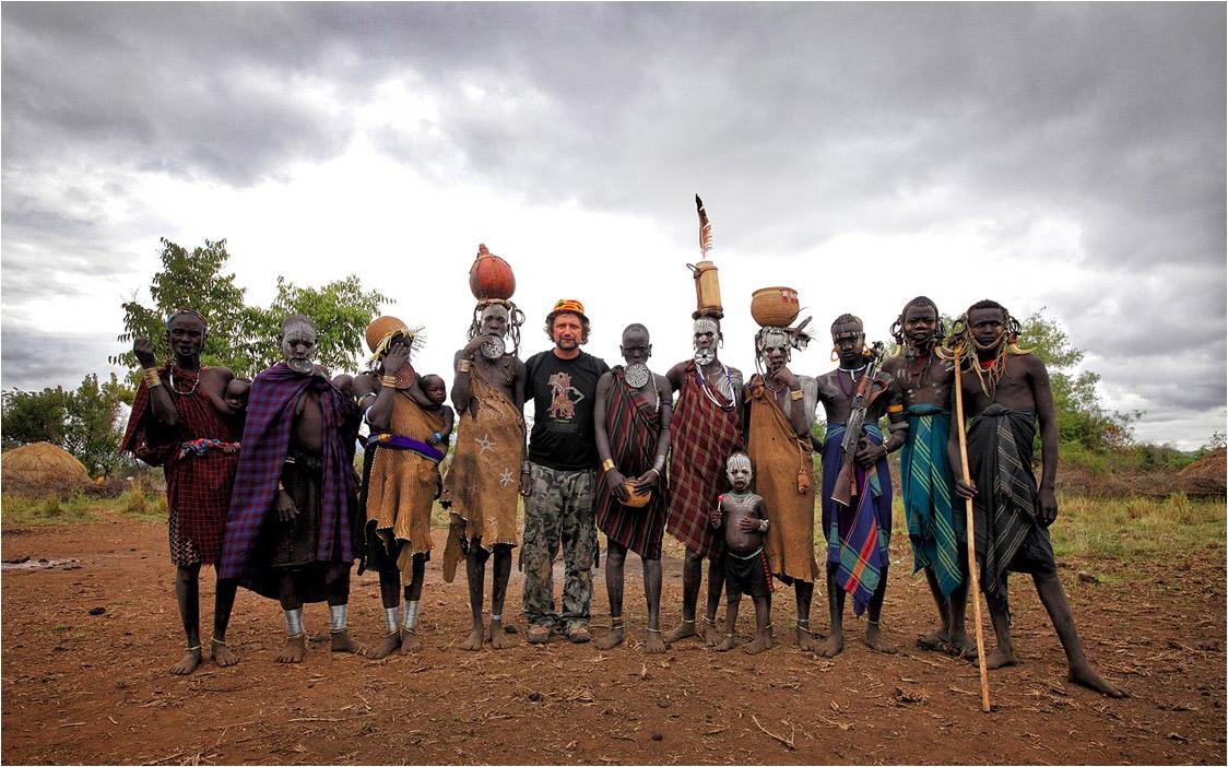 С племенем мурси в Южной Эфиопии