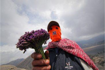 Ритуальное приношение из цветов для вулкана Бромо, остров Ява