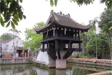 Пагода XI в. на столбе в центре Ханоя