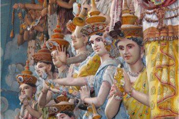 Небесные девы и другие небожители в храме Амбалангоды