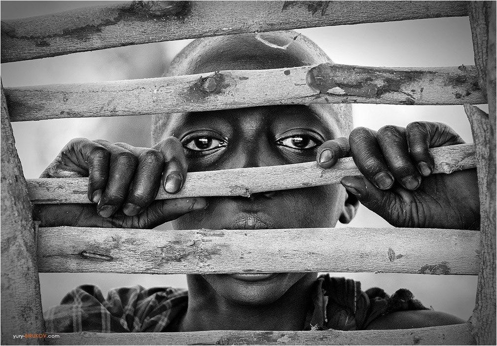 Ч-Б-портрет - Мальчик из племени Масаи
